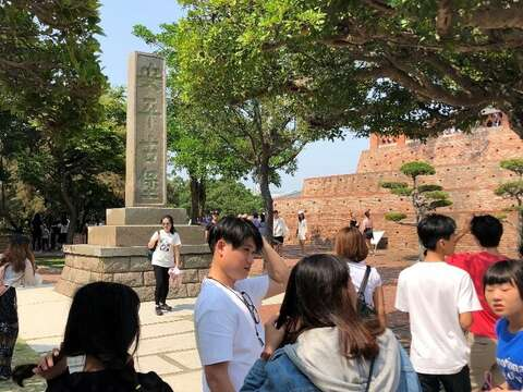 In front of the Anping Old Fort monument