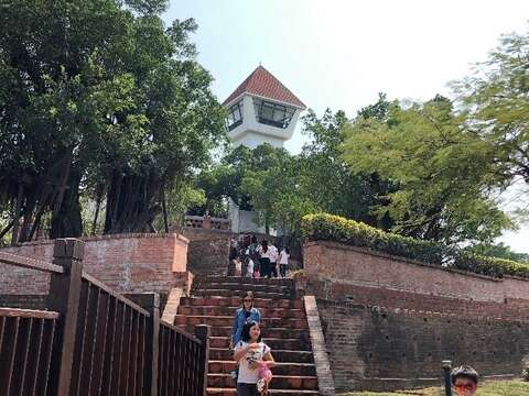 Looking up to the Anping Old Fort from the back door.