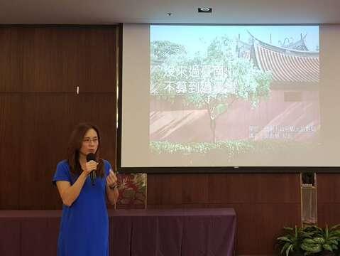 觀旅局郭貞慧局長向旅行業者說明台南旅遊元件