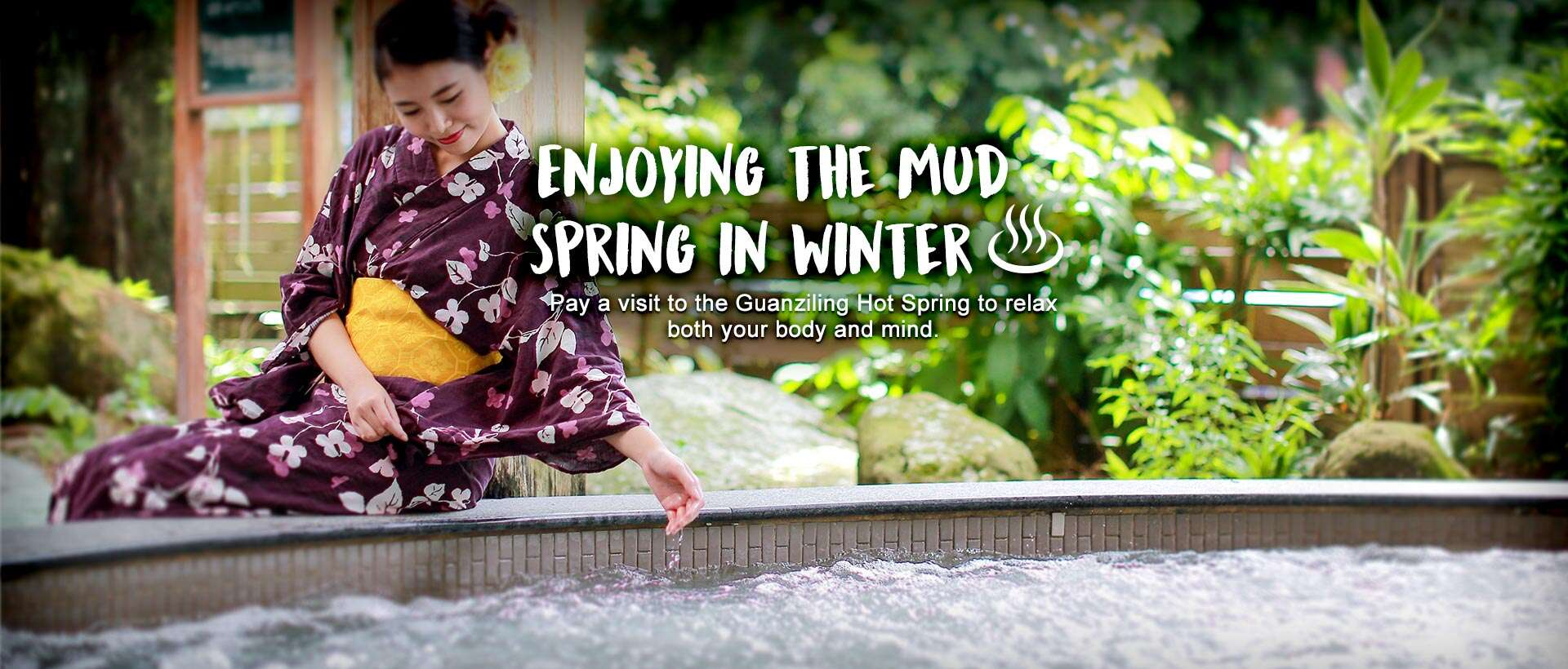 Enjoying the mud spring in winter